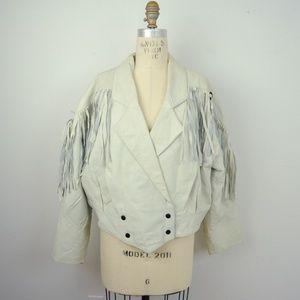 Vintage 80s Fringed Cropped Leather Jacket